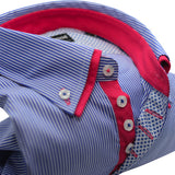Men's blue and white stripe shirt red double collar upclose