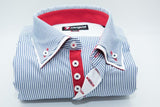 Men's blue & white stripe shirt double collar red trim front