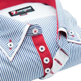 Men's blue and white striped shirt double collar red trim upclose