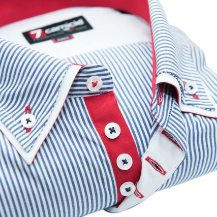 Men's Blue and White Stripe Double Collar Shirt with Red Trim