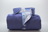 Men's navy and white stripe shirt light blue trim front