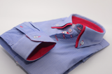 Men's blue and white stripe shirt red double collar cuff