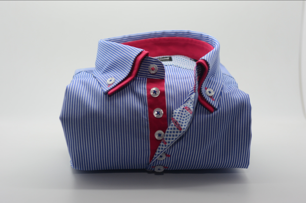 Men 39 s blue white striped shirt red double collar for Blue and white striped shirt with white collar