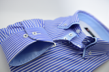 Men's blue and white stripe shirt with light blue double collar cuffs