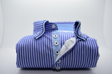 Men's blue and white stripe shirt with light blue double collar front
