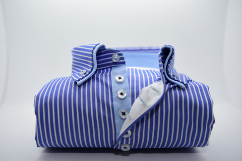 Men's Blue and White Stripe Shirt with Double Collar