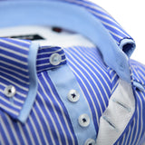 Men's blue and white stripe shirt light blue double collar upclose