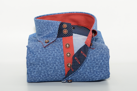 Men's Blue Paisley Print Single Collar Shirt