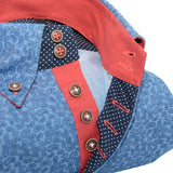 Men's blue paisley print single collar shirt upclose