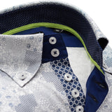 Men's blue and white patterned shirt single collar upclose