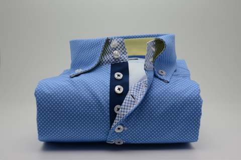 Men's Blue Patterned Single Collar Shirt with Yellow Trim