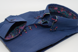 Men's blue stripe shirt with paisley double collar cuff