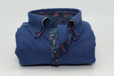 Men's blue stripe shirt with paisley double collar front