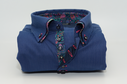 Men's Blue Stripe Shirt with Paisley Double Collar