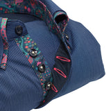 Men's blue stripe shirt with paisley double collar upclose