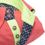 Men's brick red oxford cotton shirt green trim upclose