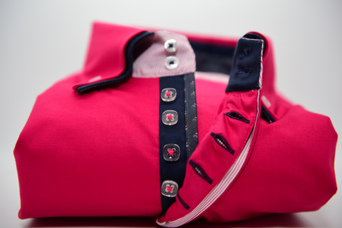Men's Pink Shirt with Navy Blue Double Collar