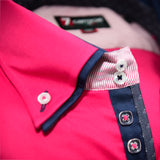 Men's bright pink shirt navy double collar upclose