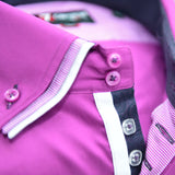 Men's bright pink triple collar shirt upclose