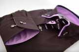Men's brown shirt with light purple double collar cuff