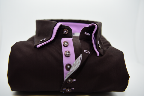Men's Brown Shirt with Light Purple Double Collar