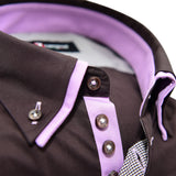 Men's brown shirt with light purple double collar upclose