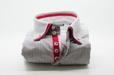Men's dark navy and white stripe shirt with red double collar front