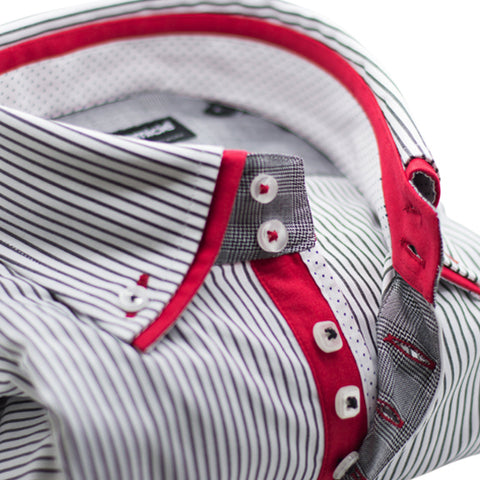 Men's Dark Blue and White Stripe Shirt with Red Double Collar