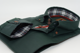 Men's dark green Oxford cotton shirt tartan trim cuff