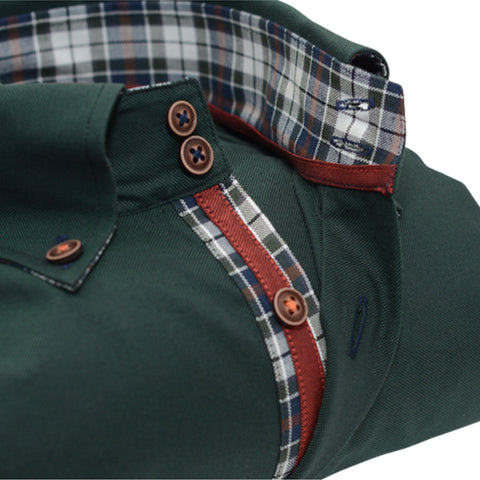 Men's Dark Green Single Collar Shirt with Tartan Trim