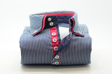 Men's dark navy striped shirt with pink trim and double collar front