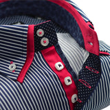 Men's dark navy striped shirt with pink trim and double collar upclose