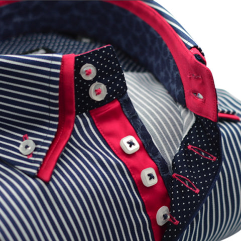 Men's Dark Navy Stripe Shirt with Pink Trim and Double Collar