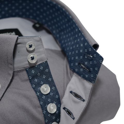 Men's Grey Single Collar Shirt with Denim Blue Trim