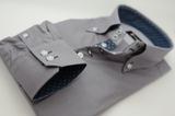 Men's grey shirt denim blue contrast cuff