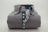 Men's grey shirt denim blue contrast front