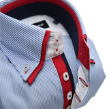 Men's light blue and white stripe shirt red double collar upclose