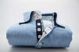 Men's light blue and white stripe navy double collar front