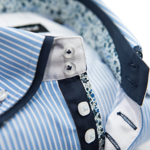 Men's Light Blue and White Striped Shirt with Navy Double Collar