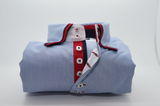 Men's light blue and white stripe shirt with red double collar front
