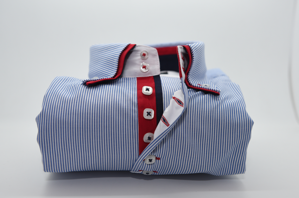 Men 39 s light blue white striped shirt with red double for Blue and white striped shirt with white collar