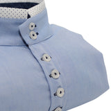 Men's light blue Oxford cotton rounded collar shirt upclose