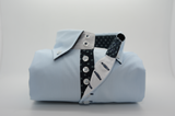 Men's light blue shirt dark trim single collar front