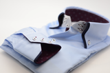 Men's light blue shirt double collar burgundy trim cuff