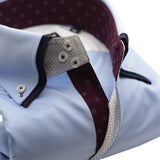 Men's light blue shirt double collar burgundy trim upclose