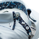 Men's light blue shirt with navy patterned double collar upclose