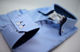 Men's light blue shirt navy blue double collar cuff