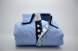 Men's light blue shirt navy double collar front