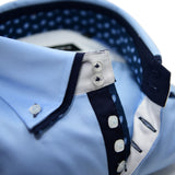 Men's light blue shirt navy double collar upclose