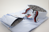 Men's light blue shirt with orange and black triple collar cuff